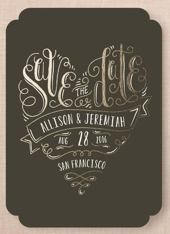 Black and gold Save the Date design. love! http://rstyle.me/n/u5jsin2bn