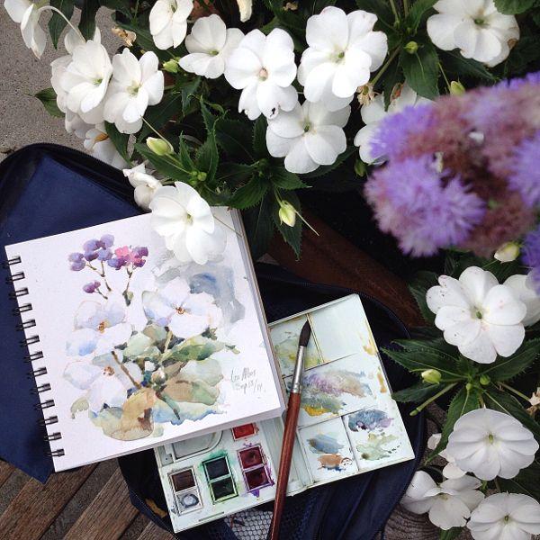 watercolor sketch of flowers
