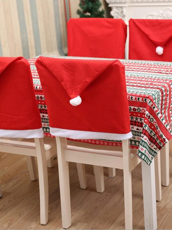Charpie Santa Hat Chair Cover Christmas Chair Chair Back Covers Christmas Chair Covers