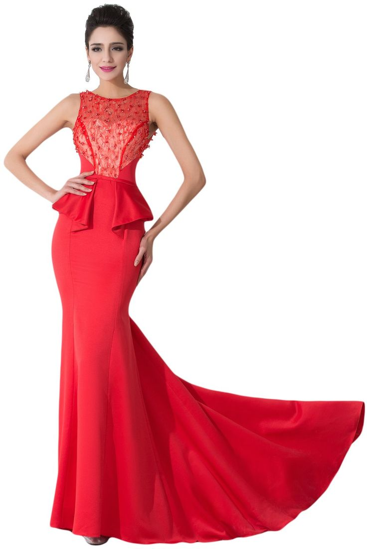 Sunvary Red Satin and Lace Mermaid Evening Prom Gowns for Woman Wedding Reception Party Dresses- US Size 2- Red