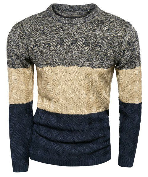 Fashion Slimming Round Neck Multicolor Splicing Kink Design Long Sleeve Polyester Sweater For Men
