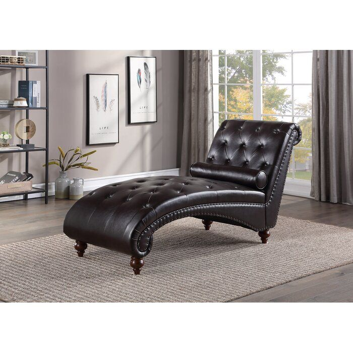 Charlton Home Chaise Lounge With Lumbar Pillow In Brown