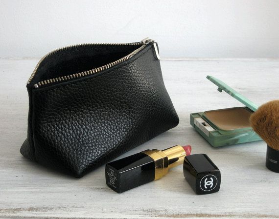Mother's Day LEATHER POUCH  Pouch Bag  Black Leather