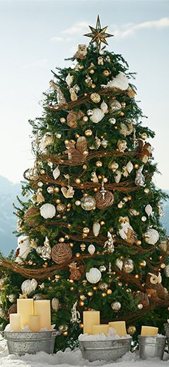 woodland christmas tree - Love the Gold Star Topper