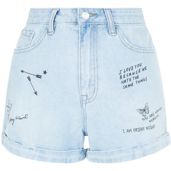 New Look Pale Blue Denim Graffiti Print Turn Up Mom Shorts (£20) ❤ liked on Polyvore featuring shorts, pale blue, zipper shorts and denim shorts