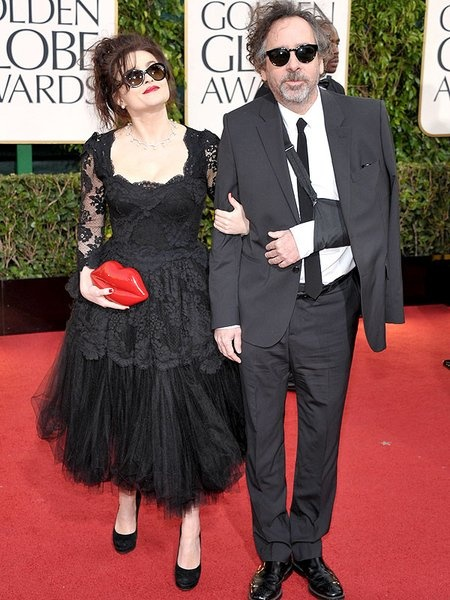 Les Mis (2012) | Helena Bonham Carter (Mme Thenardier) and her husband Tim Burton on the 2013 Golden Globe Red Carpet. Les Misérables won the Golden Globe Award for Best Picture (Comedy or Musical).