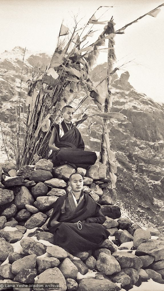 Lama Zopa (top) and Lama Yeshe meditating, 1960's.