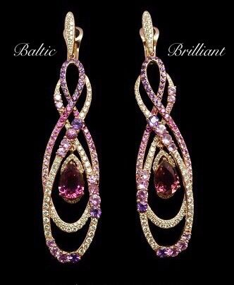 Diamond Earrings with colour stones in 18K Gold #jewelry