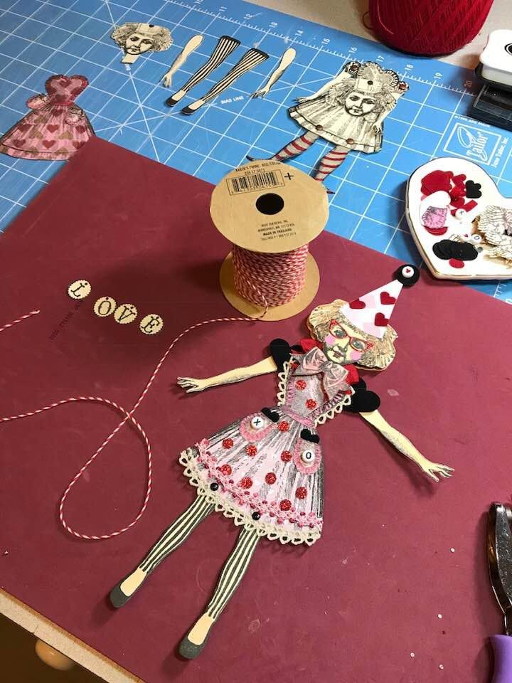 Paper doll under construction, working with Character Constructions art stamps.