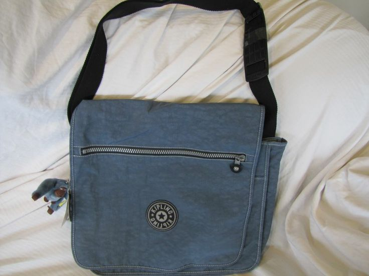 NWT- Large Kipling Messenger  In Blue With That Cute Blue Gorilla