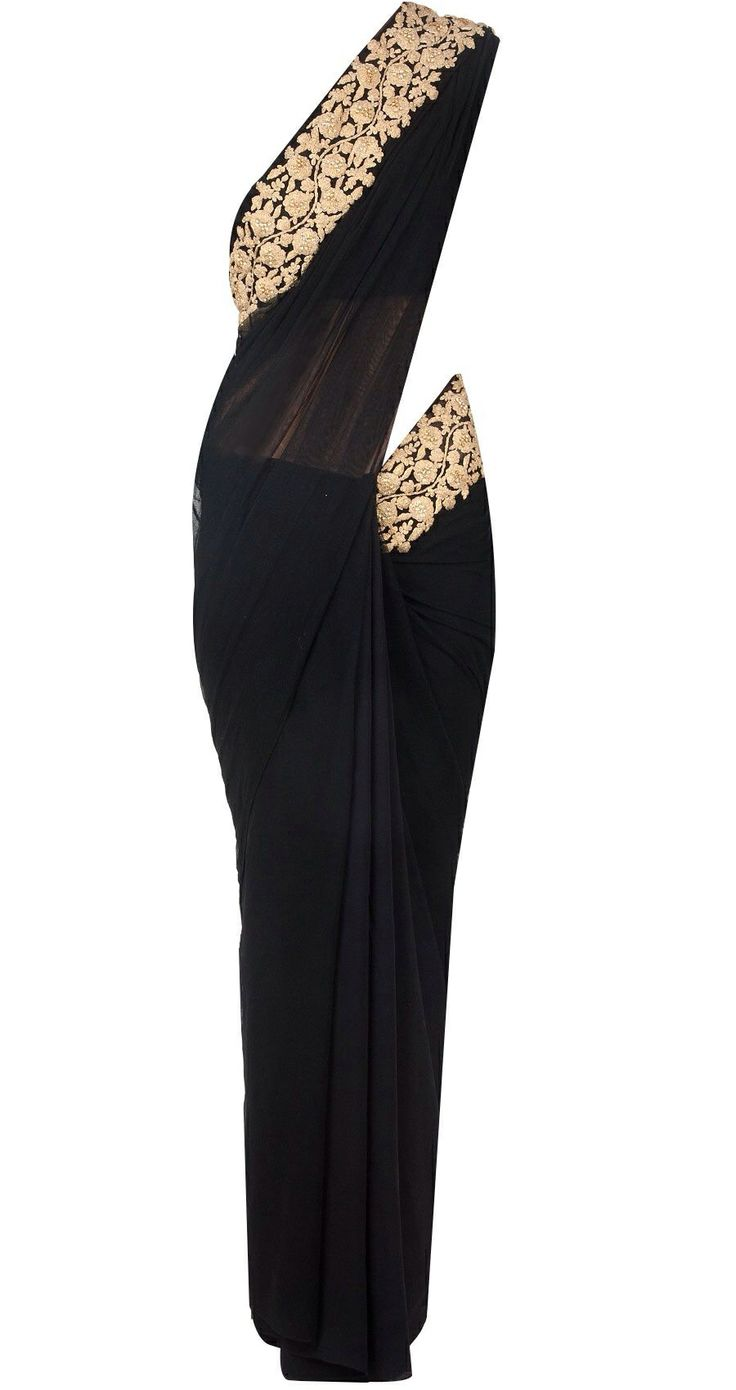 Black embroidered sari by RIDHI MEHRA.