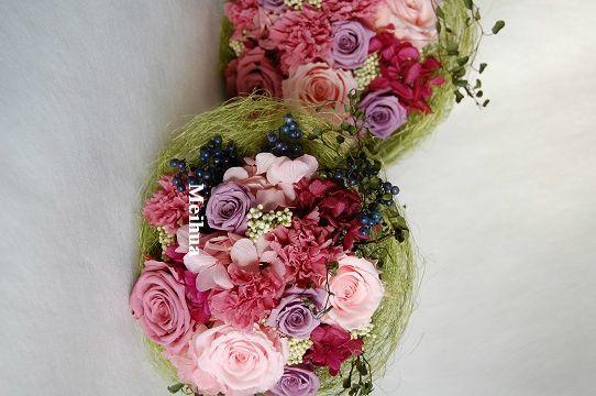 結婚ご両親贈呈用のプリザーブドフラワー花束。お母様用。ピンクグラデーションに紫をプラス。