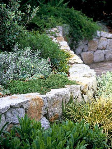 lush garden wall: Lush Gardens, Gardens Stones Wall, Gardens Decor, Decor Gardens, Stones Retaining Wall, Lawn Alternative, Gardens Wall, Beautiful Gardens, Gardens Design
