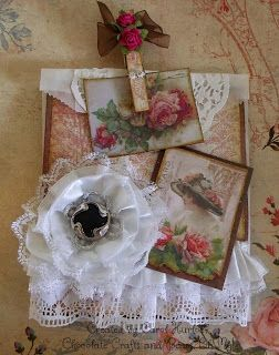 Chocolate Crafts and Bears, Oh My: Vintage Altered Glassine Bag with Lace