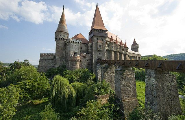 Hunedoara Castle in Transylvania, Romania. Dates from 1276 also known as Hunyad Castle and rumored to have imprisoned Vlad the Impaler for 7 years. If only walls could talk...