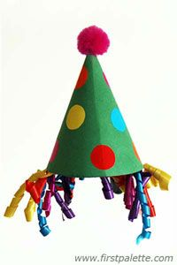 Easy clown hat - an easy craft for kids to make! Could be a good party activity!  Get supplies at Flower Factory www.flowerfactory.com