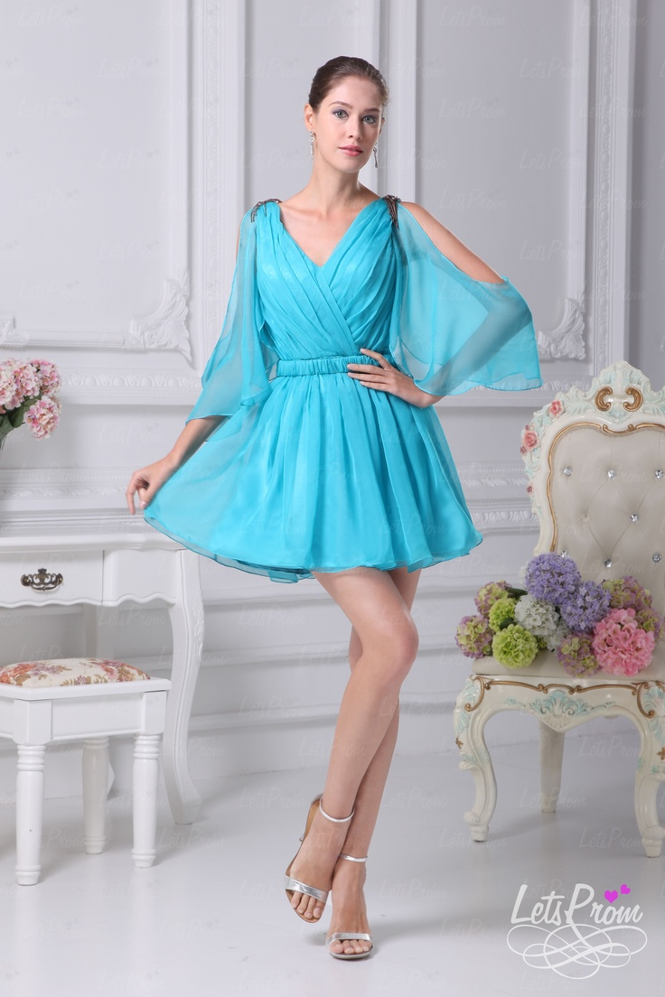 V-neck Illusion Sleeves Chiffon Mini Dress,Only US$ 91.00. Let's Wearing it on and being a Fairy Beauty.http://www.letsprom.com/Products/A-line-V-neck-Illusion-Sleeves-Chiffon-Mini-Dress