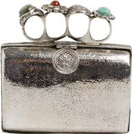 Silver clutch bag w/ antique ring brass knuckle handle