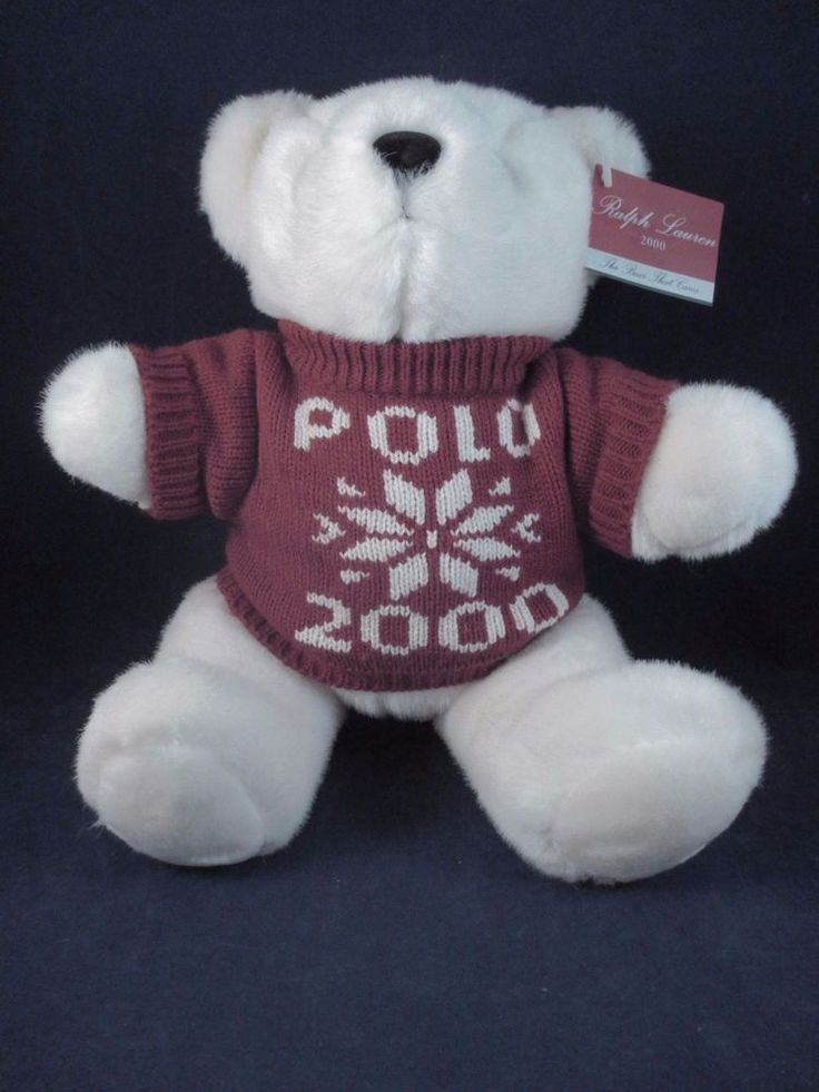 Ralph Lauren Polo 2000 White Teddy Bear in Red Snowflake Sweater with Tag #RalphLauren #Christmas