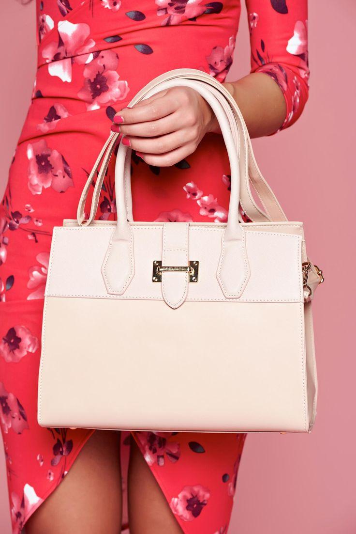 Comanda online, Geanta dama casual rosa compartimentata cu buzunare interioare. Articole masurate, calitate garantata!