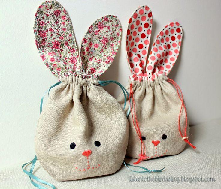 Saquinho coelho... bom pra enfeite de páscoa Bunny Pouch Tutorial