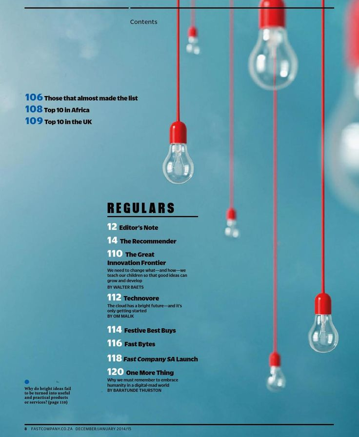 #contents page from Fast Company magazine - Dec/Jan 2015