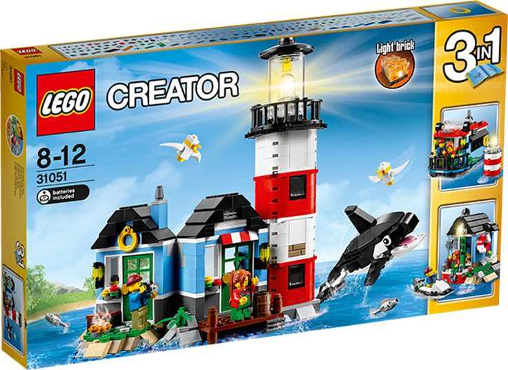 LEGO Creator 31051 Fyrtårn og hus Oplev eventyr ved havet med dette enestående 3i1-sæt fra LEGOCreator med hyggeligt fyrtårn og fyrmesterens hus med detaljeret indretning, bl.a. bord, stol, lampe og maleri. Kravl op til toppen for at få overblik, og tænd for fyrtårnets lys for at hjælpe forbipasserende skibe. Nyd derefter en lækker forfriskning i fyrmesterens hus, hvor du kan se den venlige spækhugger svømme forbi, og gør klar til en hyggelig aften omkring den udendørs pejs, mens bølgerne…