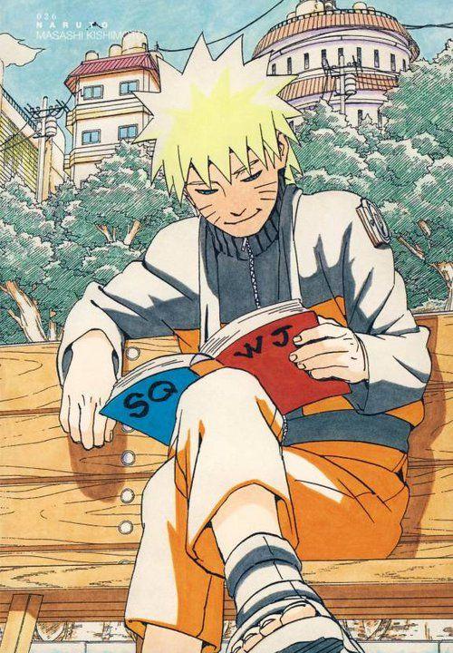 Reading and being the Hokage and like his Sensai Kakashi!! Love Naruto for life!!