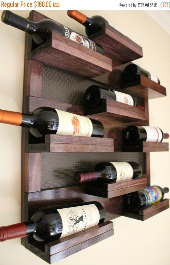 ON SALE Stunning 9 Bottle Wine Rack with Decorative Mesh, Wine Shelf, You Choose The Stain and Mesh Colors by TheKnottyShelf on Etsy https://www.etsy.com/listing/242902228/on-sale-stunning-9-bottle-wine-rack-with