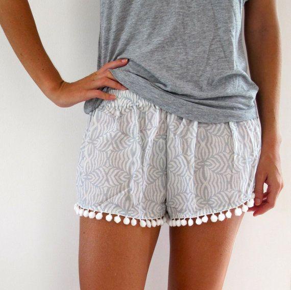 Pom Pom Shorts, Light Grey Patterned Chiffon with Large White Pom Pom Trim Pants