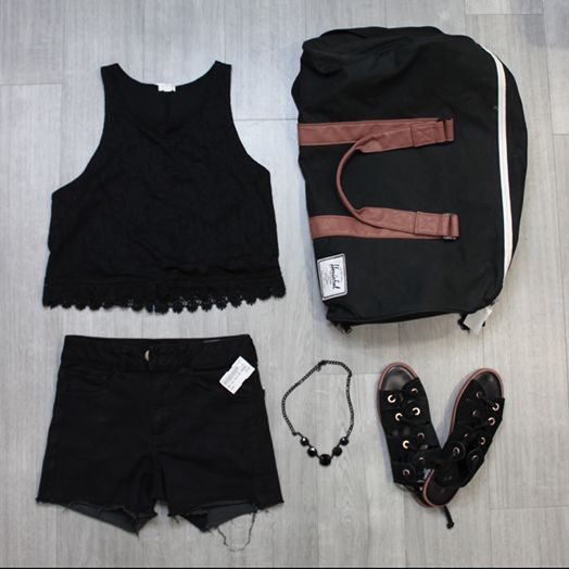You can never go wrong with classic black styles. Or add your fave accessories for a pop of colour. #PlatosClosetBrampton // #Hershel duffle bag, $40 // #UrbanOutfitters sandals, size 7.5, $14 // Garage top, large, $5 // #AmericanEagle shorts, size 2, $8 // necklace, $10 // | www.platosclosetbrampton.com