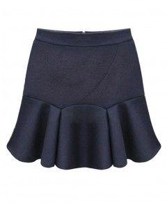 Pure Color Chiffon Skirt With Flouncing Hem