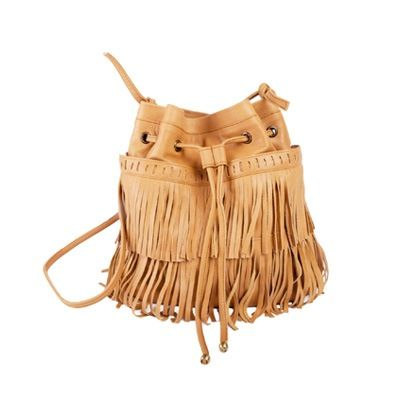 """""""Paris Swing"""" hand crafted from beautiful camel coloured cow leather and finished with '70s-inspired fringe. Internally very roomy with two fabulous external almost hidden pockets...."""