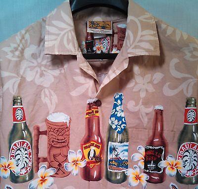 Winnie-Fashion-Mens-L-100-Cotton-Beige-Beer-Bottle-Hawiian-Shirt-Made-In-USA