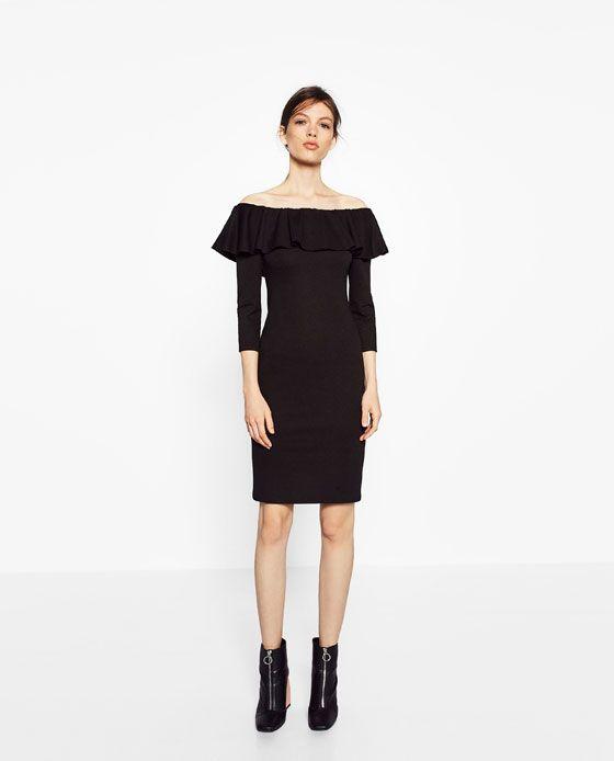 Image 1 of DRESS WITH RUFFLE NECKLINE from Zara