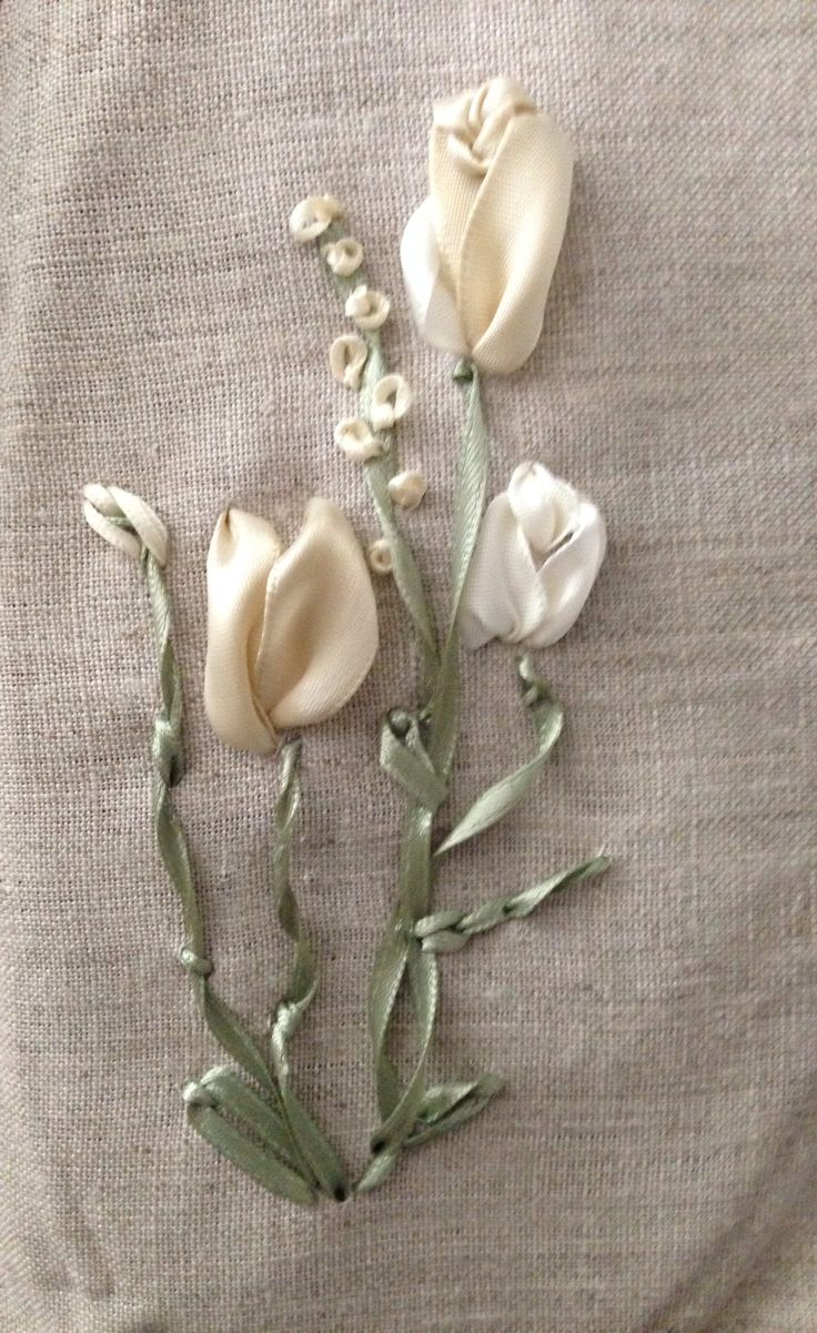 Silk ribbon embroidery practice flowers by