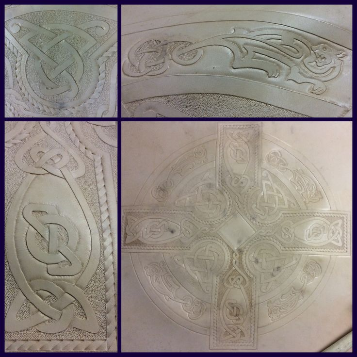 "24"" Celtic style leather shield cover. Hand carved and tooled. Now for the actual shield."