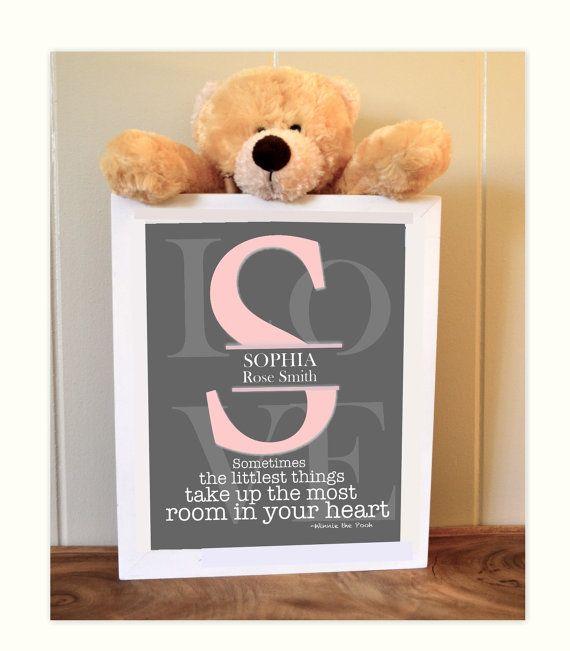 Nursery monogram, baby girl nursery, pink grey nursery, Winnie the Pooh quotes, 8x10 print on Etsy, $14.99