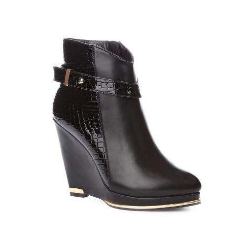 New Womens Ankle Boots Black Casual High Wedge Synthetic Leather Zip High Heel