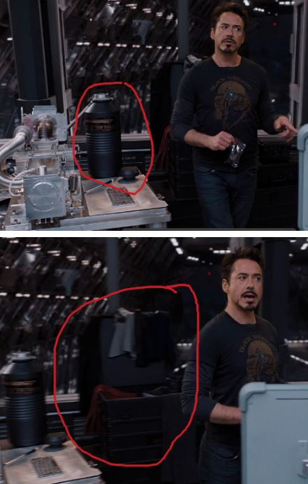 So as I'm watching it I am like 'Where does Tony get the blueberries from?' So I watch again and I see it!  The tall black cylinder case thing that says 'Stark Industries'.  Totally Tony's snacks.They're not gonna have good snacks. And then right next to it in the next frame is a big wardrobe case.  You can see a Tony shoe and some random clothes like his suit jacket and red shirt.  This guy brought snacks and a freaking wardrobe. >>> and all Banner packed was a toothbrush haha.
