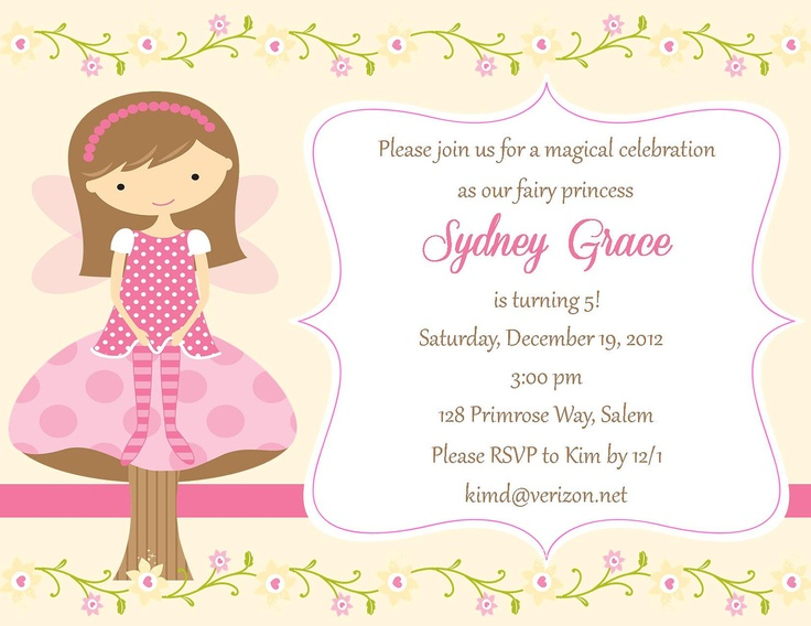 Fairy Birthday Invitation  - Digital File. $12.00, via Etsy.