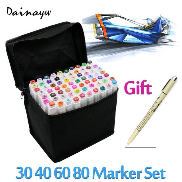 Touchfive 30/40/60/80Colors Art Marker Set Oily Alcoholic Dual Headed Artist Sketch Copic Markers Pen For Animation Manga Design