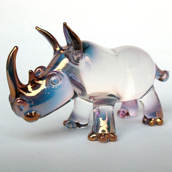 Rhino Rhinoceros Figurine Blown Glass Crystal by ProchaskaGallery  I love things that are simultaneously beautiful and funny