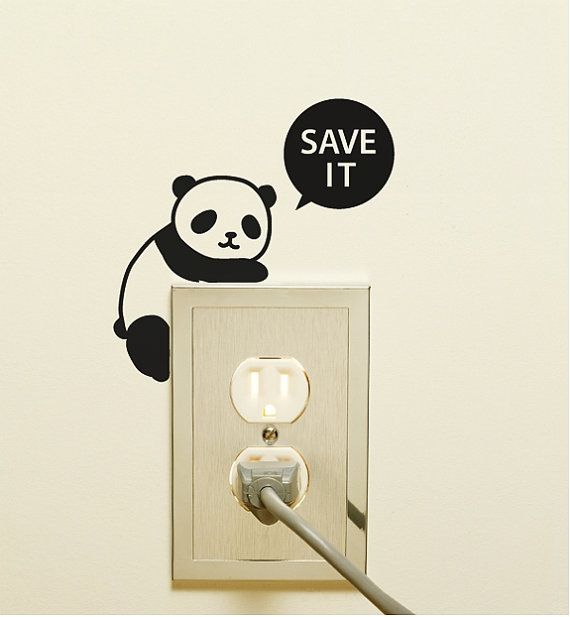4 Light Switch Sticker / Wall Decal Sticker / Panda by DubuDumo, $10.50