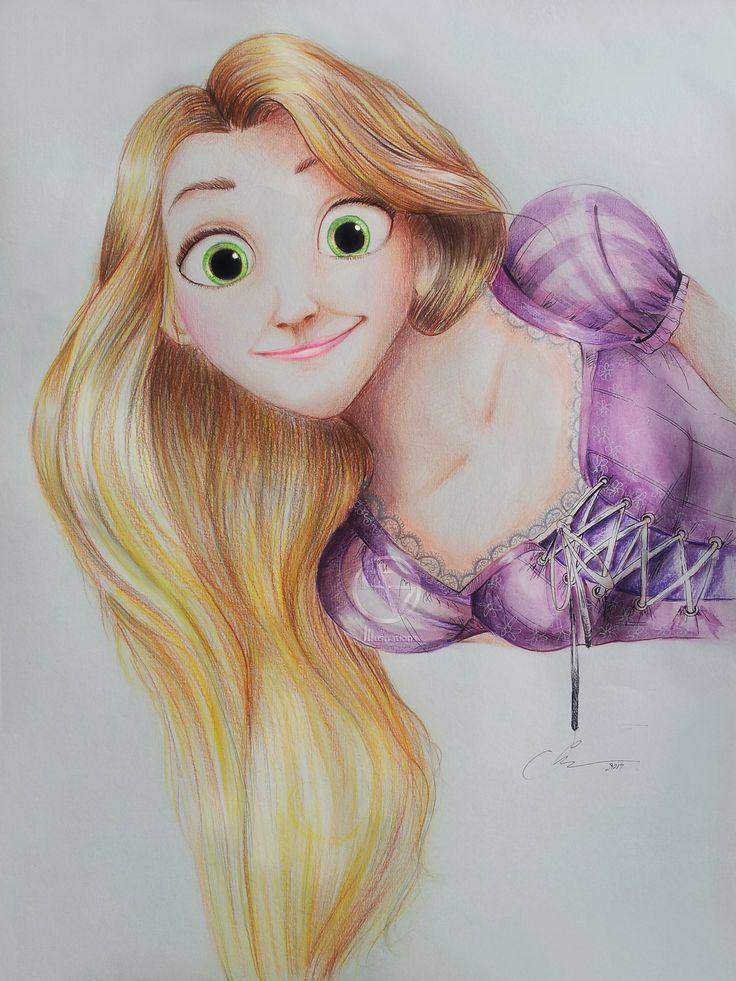 Rapunzel #pencils #ink #water colours #50x60cm #For sale