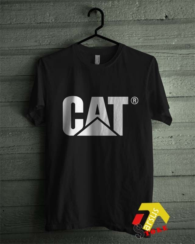CAT Caterpillar Costruction Logo Emblem Diesel Power Black T-Shirt 2 All Size Shirt