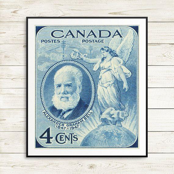 P017 large blue poster alexander bell alexander graham bell