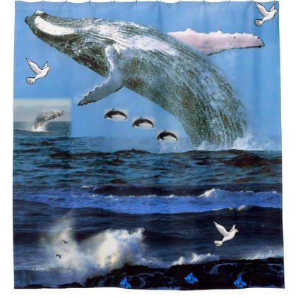 Whale ocean shower curtain - home decor design art diy cyo custom