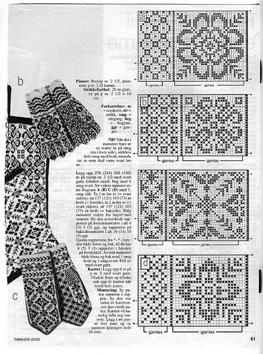 tons of folk designs for patterned mittens