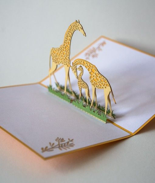 The front of this yellow card silhouettes a single giraffe standing in the grass. Open the card to find a little, loving family of giraffes. This pop up card is embellished with flowers in the corners